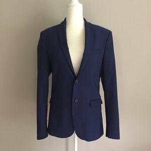 Zara Man Blazer Jacket Sz 38 Blue Textured
